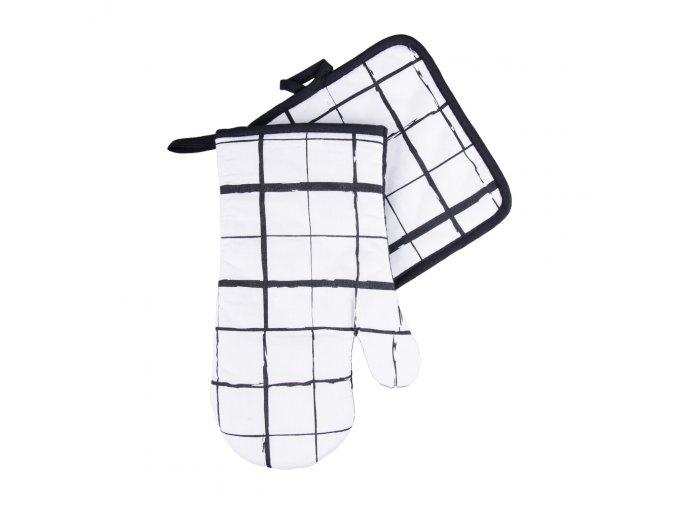 Kuchyňský set rukavice/chňapka BLACK WHITE motiv B, 18x30 cm/20X20 cm ESSEX, 100% bavlna