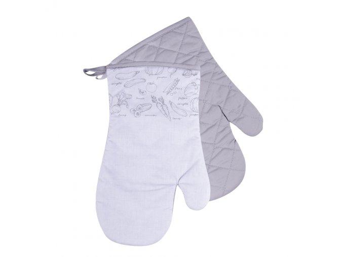 Kuchyňské bavlněné rukavice chňapky VERDURE - šedá, 100% bavlna 18x30 cm Essex