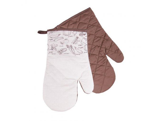 Kuchyňské bavlněné rukavice chňapky VERDURE - béžová, 100% bavlna 18x30 cm Essex