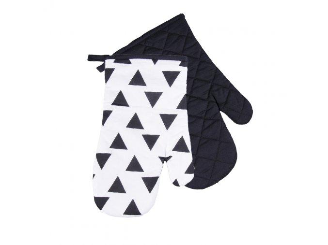 Kuchyňské bavlněné rukavice chňapky BLACK WHITE motiv A, 100% bavlna 18x30 cm Essex