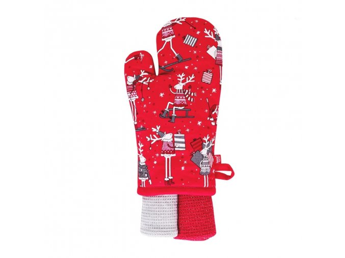Kuchyňský dárkový set DEEROVE rukavice 18x30 cm/2 ks utěrky 35x70 cm HOME & YOU, 100% bavlna