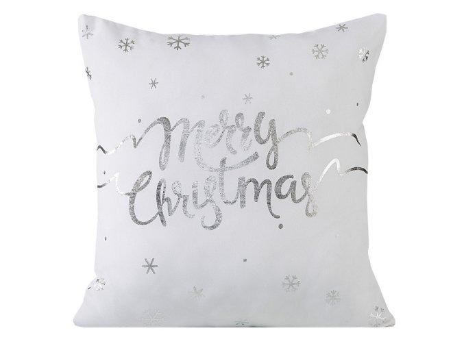 Polštář MERRY CHRISTMAS bílá 40x40cm Mybesthome