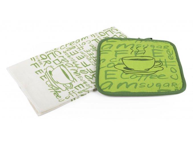Kuchyňský set mikrovláknová utěrka/chňapka LATTÉ zelená, 38x63 cm/20X20 cm ESSEX