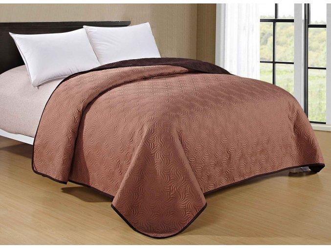 Přehoz na postel MOCCA 200x220 cm světle hnědá/tmavě hnědá ESSEX