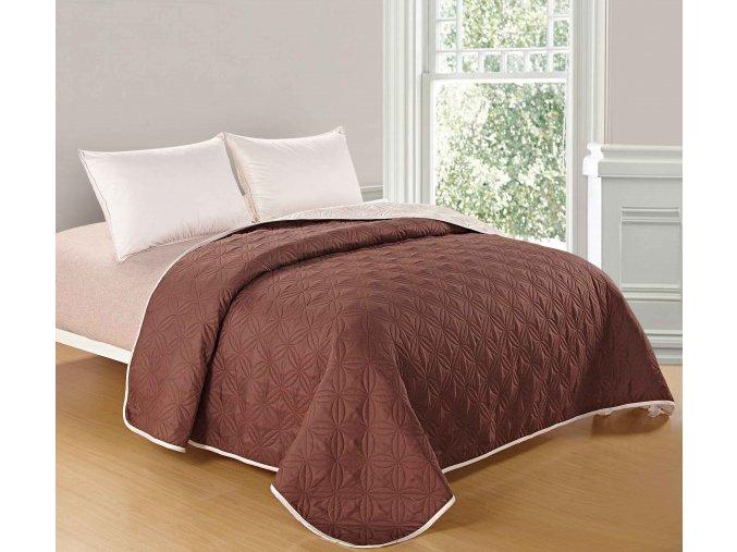 Přehoz na postel MOCCA 200x220 cm světle tmavě hnědá/smetanová ESSEX