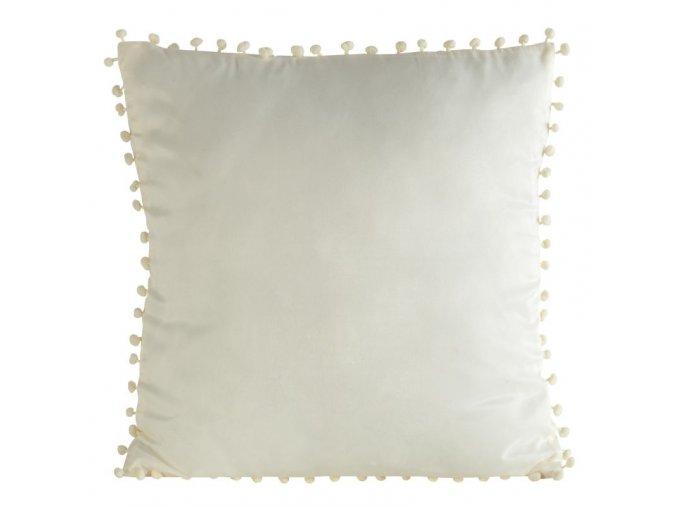 Polštář s ozdobnými kuličkami PRISCA 40x40 cm krémová, mikrovlákno, Mybesthome