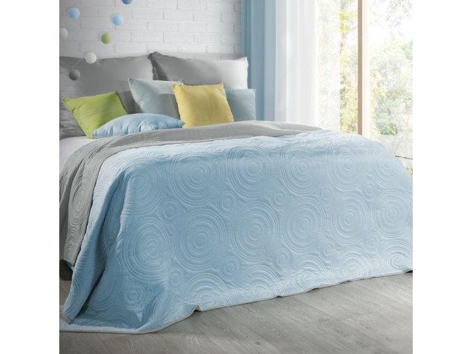 Přehoz na postel JOSHUA 220x240 cm stříbrná/světlá modrá Mybesthome