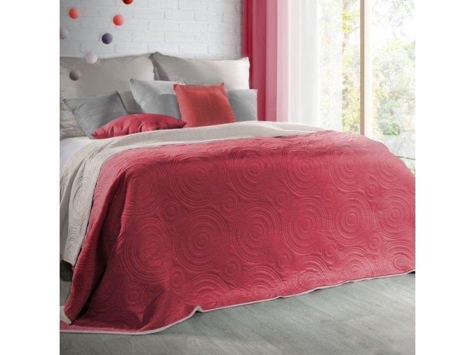 Přehoz na postel JOSHUA 220x240 cm červená/kávová Mybesthome