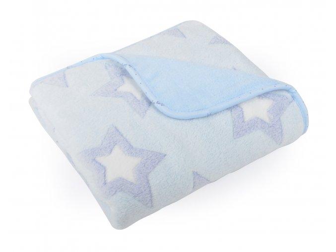Dětská deka EMMA modrá motiv hvězdičky 80x90 cm Mybesthome