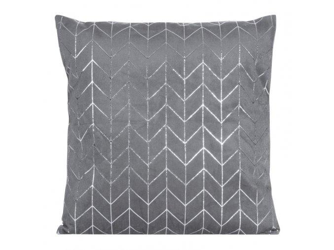 Polštář QUEBEC šedá/stříbrná 40x40 cm Mybesthome