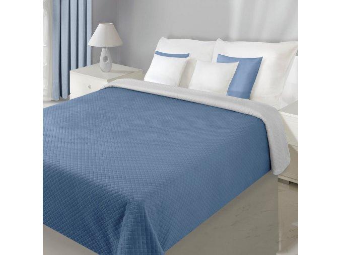 Přehoz na postel VELVET 220x240 cm modrá/šedá Mybesthome