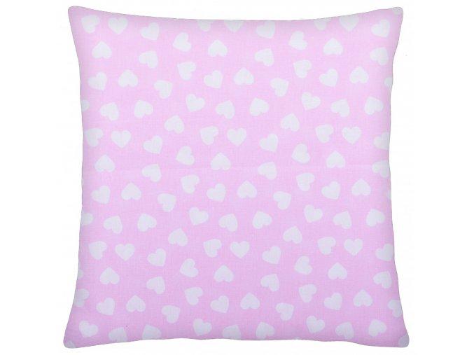 Bavlněný polštář SRDÍČKA růžová 40x40 cm, Mybesthome