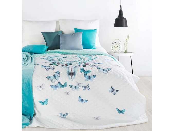 Přehoz na postel LAPAČ SNŮ - BUTTERFLY 200x220 cm mátová Mybesthome