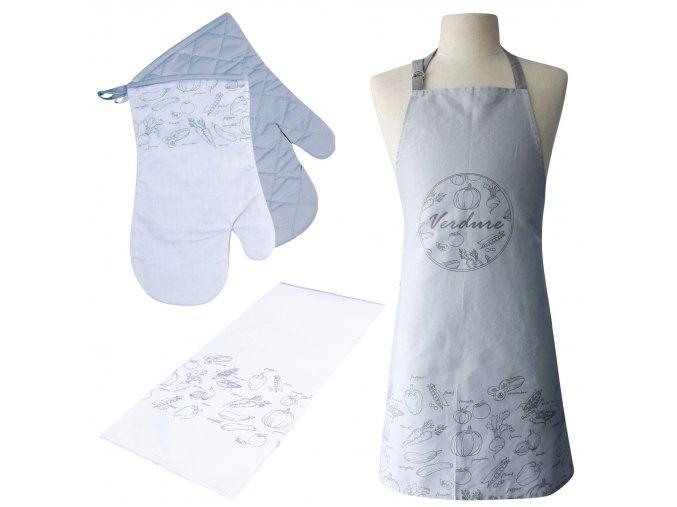 Kuchyňská bavlněná zástěra VERDURE šedá, Essex, 100% bavlna
