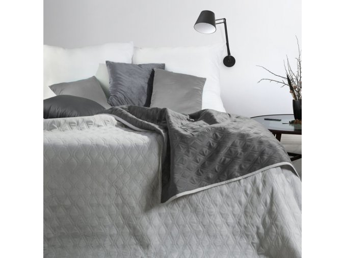 Přehoz na postel COCO 220x240 cm stříbrná/šedá Mybesthome