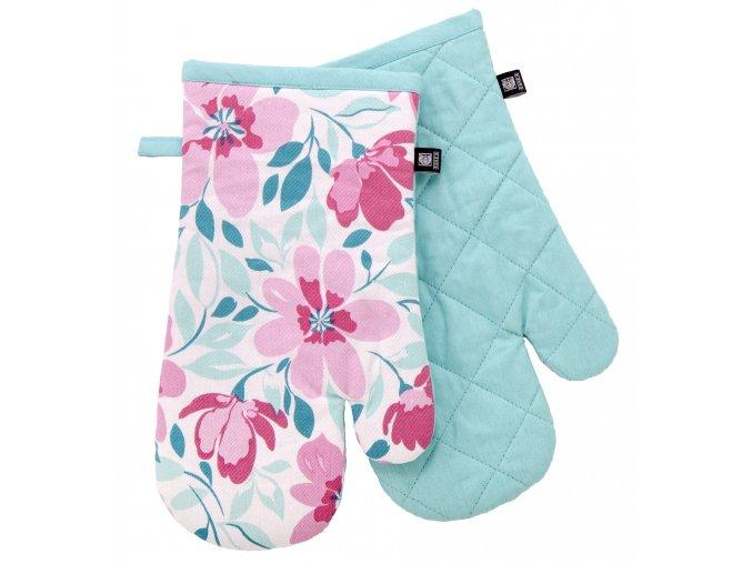 Kuchyňské bavlněné rukavice 2 chňapky FIORITO tyrkysová, 100% bavlna 19x30 cm Essex