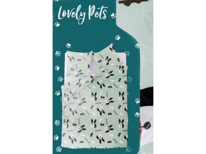 Povlečení LOVELY PETS - motiv buldočkové 1x 140x200 cm, 2x povlak 70x80 cm MyBestHome