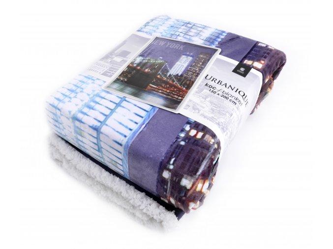 Přehoz - luxusní mikrovláknová deka s beránkem URBANIQUE motiv NEW YORK -150x200 cm Essex