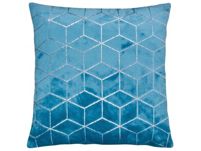 Polštář SIMONE mikrovlákno tyrkysová Essex 40x40cm, geometrický vzor