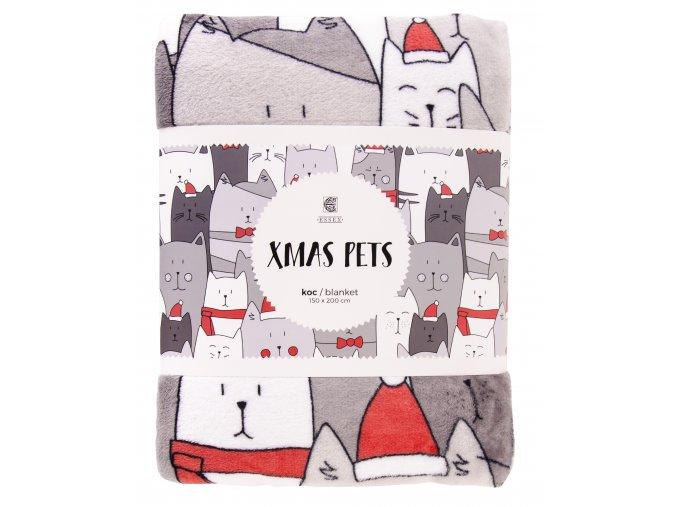 Deka z mikrovlákna X-MAS PETS motiv zimní kočky 150x200 cm Essex