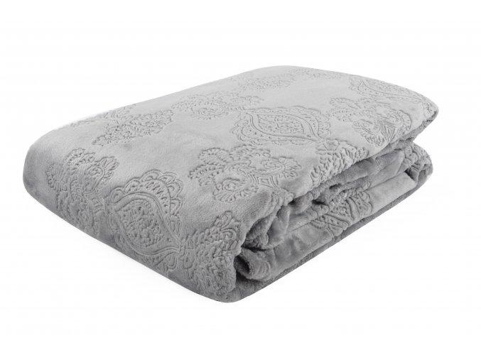 Deka z mikrovlákna NOTRE DAME 150x200 cm šedá plastický vzor Essex