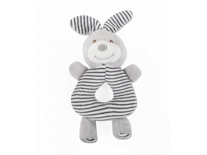Dětské plyšové chrastítko CUDDLY RABBIT šedá 10x20 cm Essex