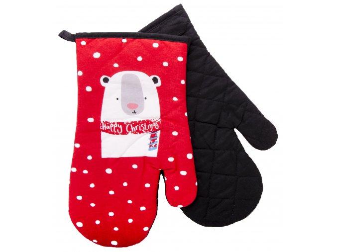 Kuchyňské rukavice chňapky FUNNY CHRISTMAS LET IT SNOW 18x30 cm Essex