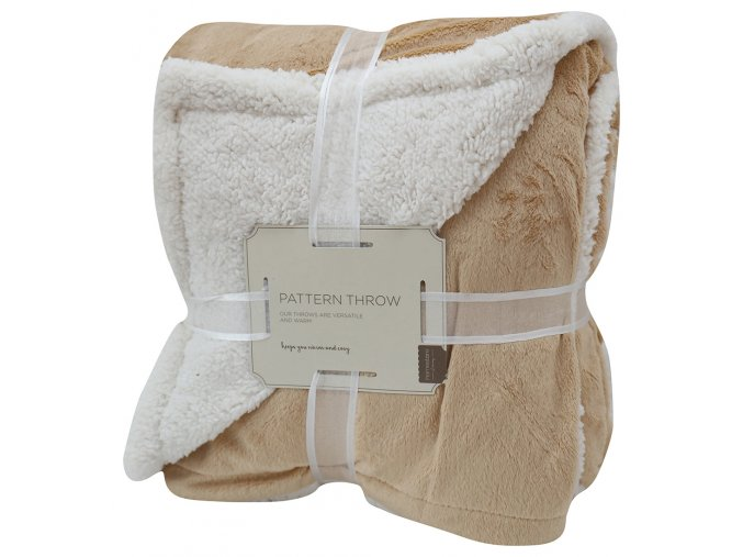Přehoz - mikrovláknová deka s beránkem SAMBA béžová -150x200 cm Essex