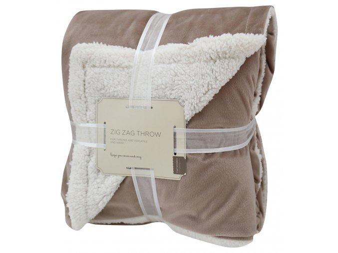 Přehoz - mikrovláknová deka s beránkem SAMBA světle hnědá -150x200 cm Essex