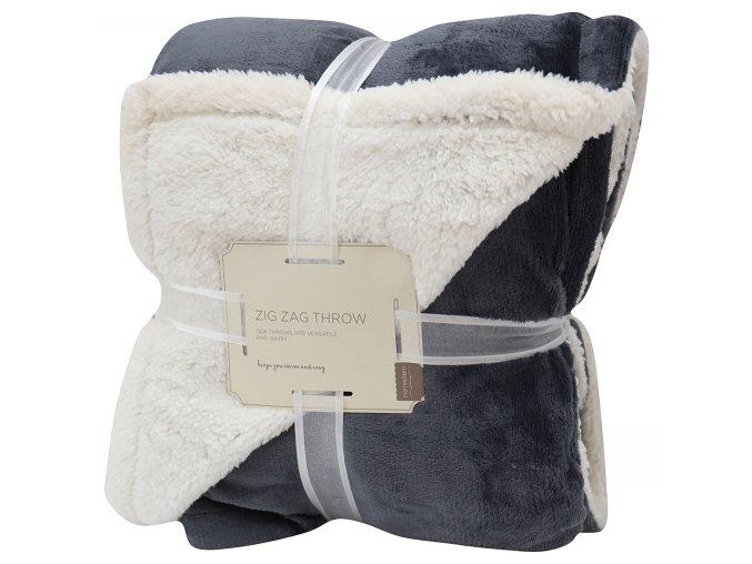 Přehoz - mikrovláknová deka s beránkem SAMBA antracitová -150x200 cm Essex