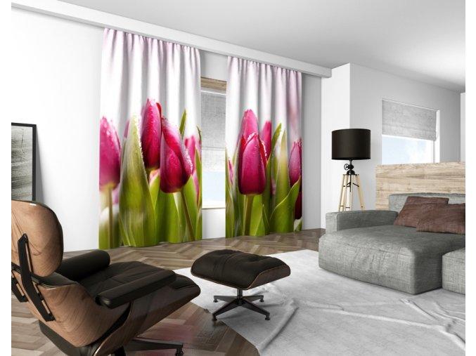 3D dekorační závěs 113V PINK TULIPS 160x250 cm set 2 kusy MyBestHome
