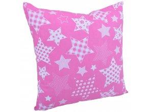 Bavlněný polštář HVĚZDY růžová 40x40 cm