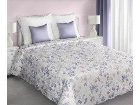 Přehoz na postel TORSTI 220x240 cm krémová/fialová Mybesthome