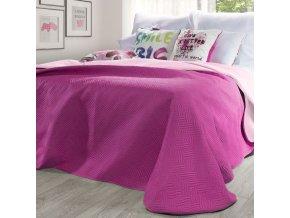 Přehoz na postel MANU 220x240 cm tmavě růžová/světle růžová Mybesthome