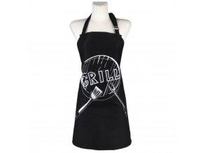 Kuchyňská bavlněná zástěra GRILL, černá, Essex, 100% bavlna