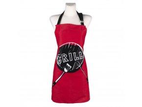 Kuchyňská bavlněná zástěra GRILL, červená, Essex, 100% bavlna