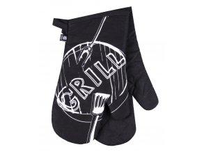 Kuchyňské bavlněné rukavice chňapky GRILL, černá, 100% bavlna 18x30 cm Essex