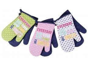 Kuchyňské bavlněné rukavice chňapky PICNIC, růžová, 100% bavlna 18x30 cm Essex