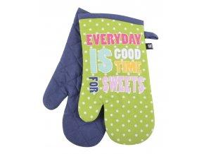 Kuchyňské bavlněné rukavice chňapky PICNIC, zelená, 100% bavlna 18x30 cm Essex