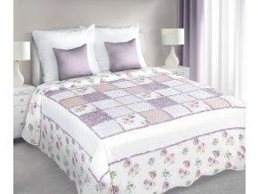 Přehoz na postel OLIVIER 220x240 cm bílá/růžová patchwork Mybesthome