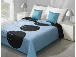 Přehoz na postel MARCEL 220x240 cm modrá/černá Mybesthome