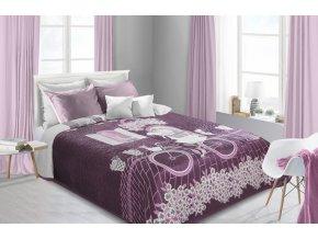 Přehoz na postel JEROME 220x240 cm krémová/vínová Mybesthome