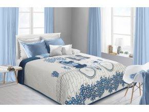 Přehoz na postel JEROME 220x240 cm krémová/tyrkysová Mybesthome