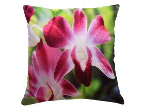 Polštář ORCHIDEJE V RŮŽOVÉM 40x40cm fototisk 3D motiv s květem orchideje MyBestHome