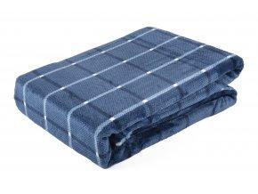 Deka z mikrovlákna BRUNO 150x200 cm modrá vzor kostky Essex
