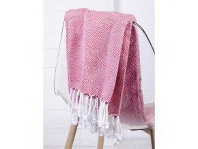 Bavlněný pléd -  deka ze 100% bavlny ZIGGY červená 130x170 cm Essex