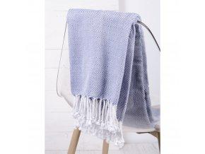 Bavlněný pléd - deka ze 100% bavlny ZIGGY modrá 130x170 cm Essex