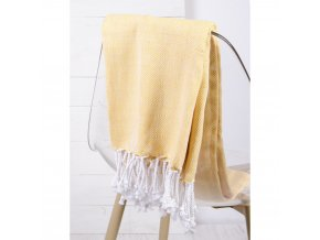 Bavlněný pléd - deka ze 100% bavlny ZIGGY okrová 130x170 cm Essex