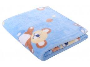 Dětská deka s medvídky BEAR modrá 80x90 cm Mybesthome