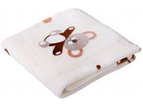 Dětská deka s medvídky BEAR smetanová 80x90 cm Mybesthome